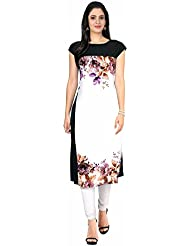 Queen Creation Women's Crepe White Colour Printed Kurti(White Colour) - B01LH7DAS8