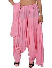 Bottomline Women Cotton Solid Baby Pink Full Patiala Salwar Dupatta Set Free Size