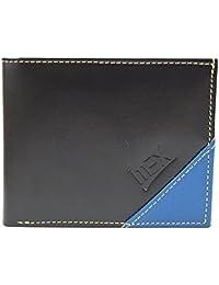 Imex Men's Sylish Black & Blue Genuine Leather Wallet