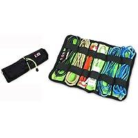 BUBM Fashion Rolling Bag Cable Organizer Travel Case Digital Storage Bag L Dark Blue Black(L) L