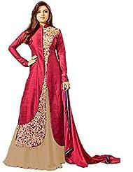 Royal Export Women's Bangalori Red And Beige Anarkali Semi-Stitched Salwar Suit