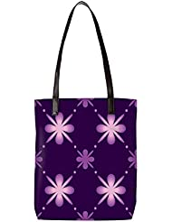 Snoogg Purple Floral Pattern Womens Digitally Printed Utility Tote Bag Handbag Made Of Poly Canvas With Leather...