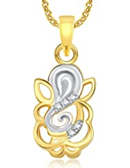 Amaal Ganesha Ganpati God Pendant With Chain For Men,Women Gold Plated In American Diamond Cz Jewellery GP0336