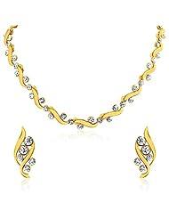 Oviya Gold Plated Bold Crystal Curves Necklace Set For Women NL2103026G