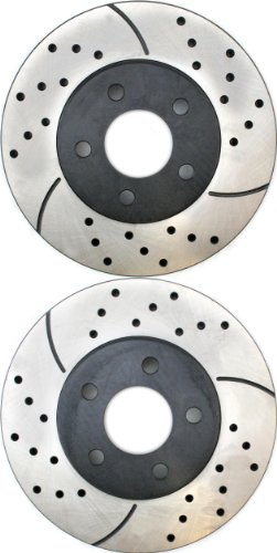Prime Choice Auto Parts PR6399LR Performance Drilled and Slotted Brake Rotor Pair for Front