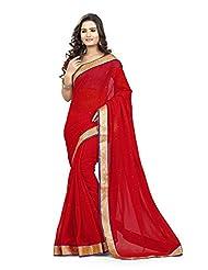Red Bridal Wear Women Saree Indian Zari Work Chiffon Sari