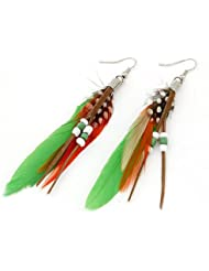 GirlZ! Fashion New Vintage Luxury Metal & Feather Dangle Earrings For Women In Multicolor