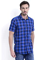 Sting Blue Check Half Sleeve Slim Fit Cotton Casual Shirt For Men