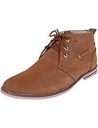Marshal Decent Men's Tan Synthetic Leather Lace Up Boots