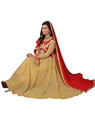 Women's Beige & Red Embroidered Georgette Suit