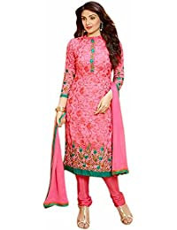 Aryan Fashion Designer Peach & Green Colour Georgette Embroidered Semistitched Dress For Women & Girls Party Wear...