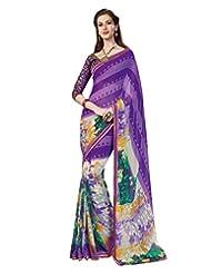 Inddus Exclusive Women Fashionable Purple Georgette Printed Saree