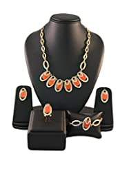 Orange Crystals Contemporary Golden Color Jewellery Set