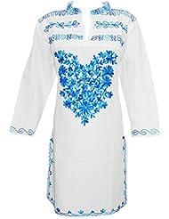 Indiatrendzs Women's White Fashionable Babydoll Blue Embroidered Long Kurta