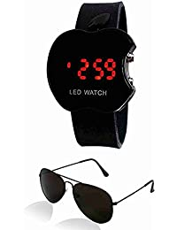 Sheomy B01lwweezv Unisex Combo Pack Of Sunglasses And LED Digital Black Dial Apple Shape Watch