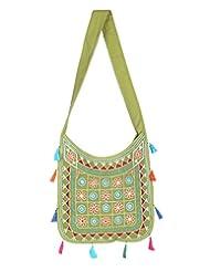 Rajrang High Quality Cotton Embroidered Circles Green Sling Bag - B015PUVUHG