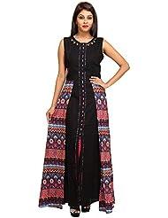 GULABI Women's Regular Fit Rayon Kurta (Black, Medium)