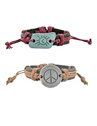 """ALPHA MAN """"The Sunny Side Of Life, Peace, Safety For Women"""" Strap Faux Leather Bracelet Combo"""