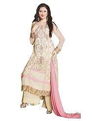 Namrah Collection Women's Georgette Straight Salwar Suit (2606, Sandy Brown)