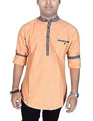 Kuons Avenue Mens Peach Linen Cotton Mandarin Collar Long Sleeve Solid Casual Kurta Shirt