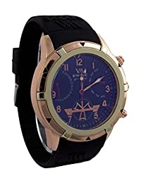 Addic EWWE Stylish Dark Blue Color Dial With Date And Day Panels And Black Straps Watch For Men
