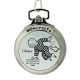 Click to order a Monopoly Go To Jail and Get Out Of Jail Free pocket watch and money clip from Amazon!