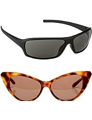 New Stylish UV Protected Combo Pack Of Sunglasses For Women / Girl ( BlackWrap-BrownCateye ) ( CM-SUN-024 )
