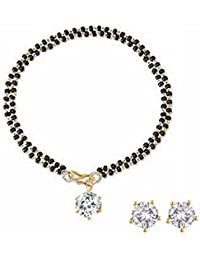 Archi Collection Jewellery Combo Of American Diamond Mangalsutra Bracelet Mangalsutra And Earrings For Women