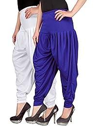 Navyataa Women's Lycra Dhoti Pants For Women Patiyala Dhoti Lycra Salwar Free Size (Pack Of 2) White & Blue