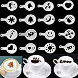MagnusDeal® 16pcs Creative Nice Coffee Barista Stencils Template Strew Pad Duster Spray Art (Random Style)