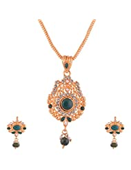 Ganapathy Gems Gold Plated Pandent Set With Green And White Stones With Chain - B00XJJ6SHS