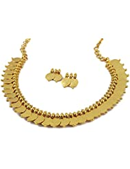 Deco Junction Traditional Temple Coin Golden Necklace Set With Earrigs
