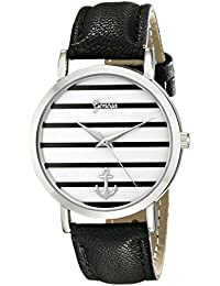 Geneva Women's 2431C-GEN Silver-Tone Watch With Synthetic-Leather Band