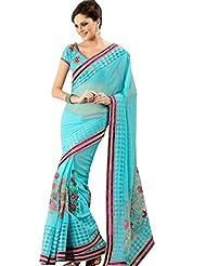 Anvi Creations Light Blue Georgette Embroidered Saree (Light Blue_Free Size)
