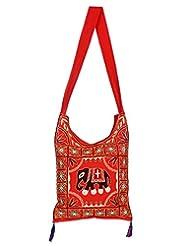 Rajrang Indian Designs Cotton Embroidered Elephant Red Sling Bag
