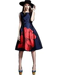 ZFashion Women's Digital Print Satin Silk One Piece Dress(ZF-K 102_Navy Blue)