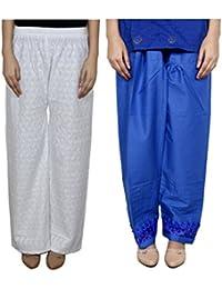 Indistar Women Full Cotton Chikan White Palazzo With Cotton Blue Chaudi Lace Semi- Patiala Salwar - Free Size...