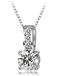 Wearyourfashion Platinum Plated AAA Swiss Zircon Crystals Round Pendant Necklace For Women