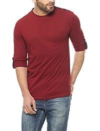 Gritstones Maroon Full Sleeve Round Neck T-Shirt