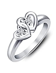 Vorra Fashion Platinum Plated .925 Sterling Silver Round - Cut CZ Double Heart Promise Ring