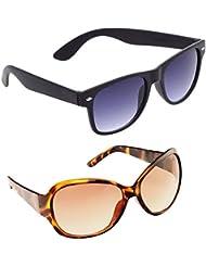 New Stylish UV Protected Combo Pack Of Sunglasses For Women / Girl ( BlackBlackWayfarer-BrownButterfly ) ( CM-SUN...