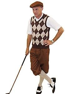 Edwardian Men's Pants Brown Knickers Cap with Brown/Khaki/White Argyle Sweater Socks $125.00 AT vintagedancer.com