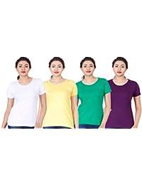 Fleximaa Women's Cotton Round Neck T-Shirt Plain (Pack Of 4) - White, Yellow, Pakistan Green & Purple Colors.