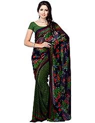 Fabdeal Daily Wear Floral Print Georgette Saree/Sari ( UGQSR9443AOC-_Blue & Green )