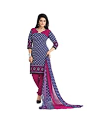 BanoRani Womens Blue & Rani Color PolyCotton UnStitched Dress Material