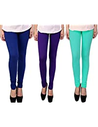 Snoogg Womens Ethnic Chic Inspired Churidar Leggings In Blue, Purple And Sky Blue
