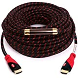 KAYO ESSENTIALS Hi-Speed HDMI1.4 Cable 75 FT With SIGNAL BOOSTER Cable Tie Red Black Sleeve Supports Ethernet...