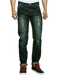 Studio Nexx Men's Distressed Slim Fit Jeans (RustGreen Tint)