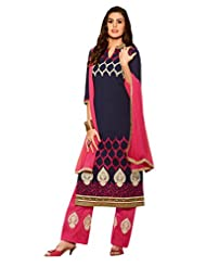 Inddus Women Blue & Pink Embroidered Unstiched Dress Material
