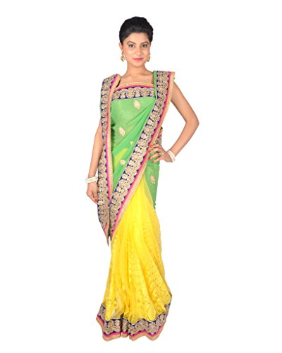 Ctc Mall Green & Yellow Faux Georgette And Net Saree With Zari , Thread & Kundan Work